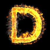 Fotografie Burning and flame font D letter