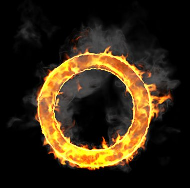 Burning and flame font O letter