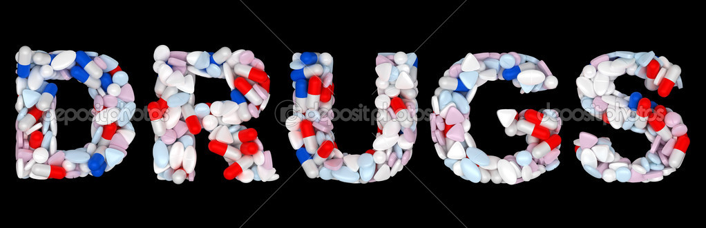 drugs word  pills and tablets shape isolated  u2014 stock photo