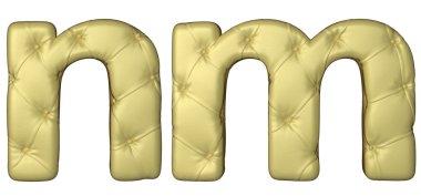 Luxury beige leather font M N letters