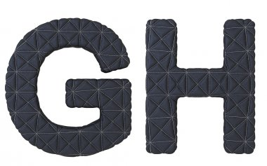 Luxury black stitched leather font G H letters