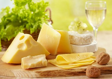Various types of cheese stock vector