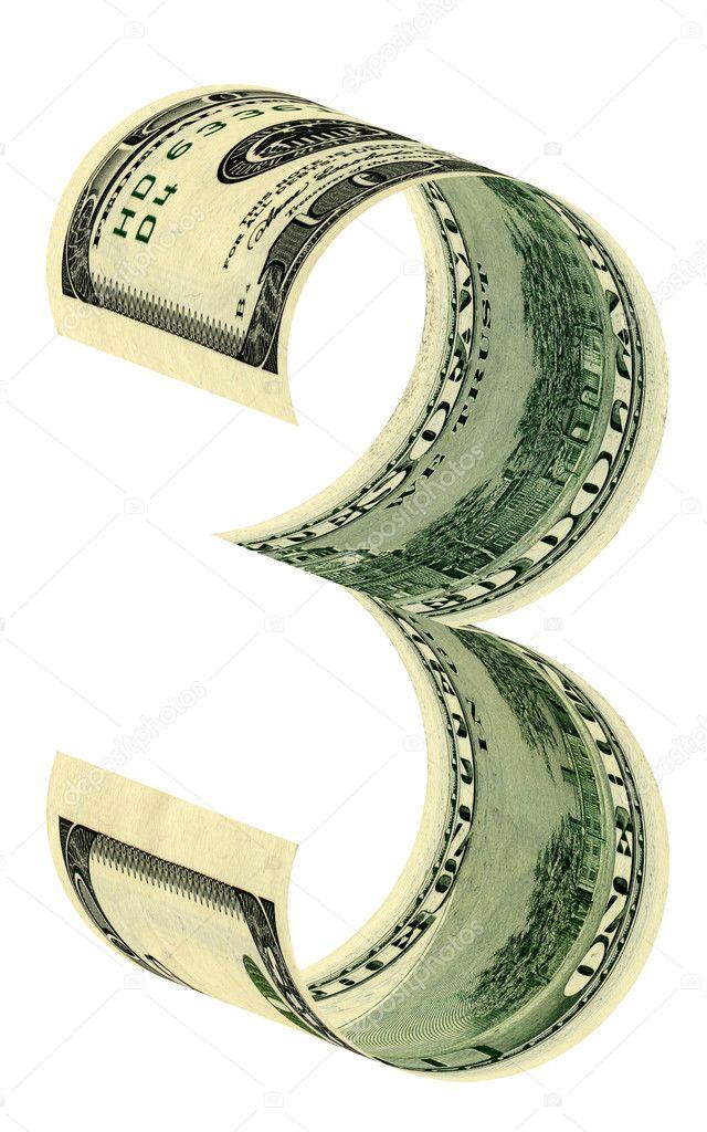 numbers three dollars stock photo akova777 4356753