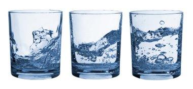 Set of glasses water splash