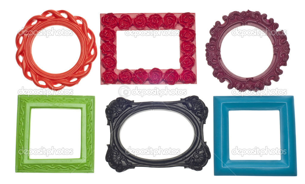 Modern vibrant colored empty frames stock photo for What to do with empty picture frames