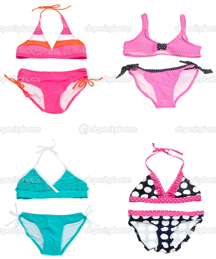6f8ba42bcabac Set of Four Vibrant Colored Bikini Bathing Suits Isolated on White with a  Clipping Path. — Photo by brookefuller