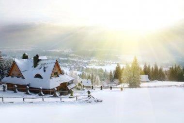 Winter house mountain stock vector