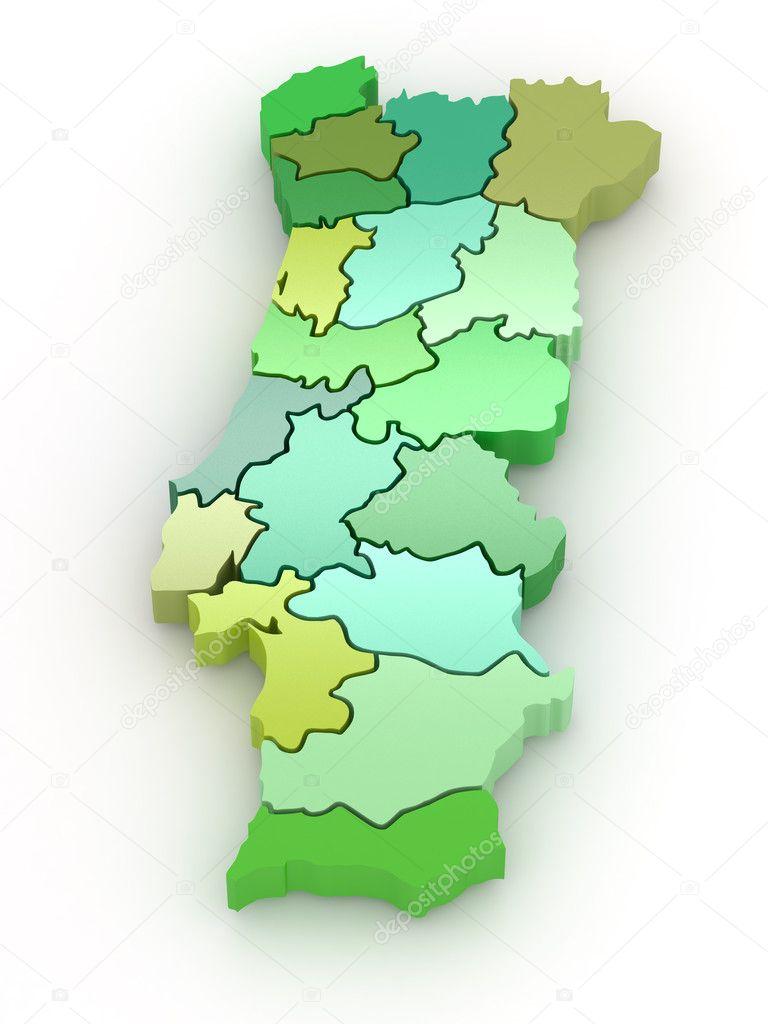 mapa de portugal 3d mapa tridimensional de portugal. 3D — Foto de stock © maxxyustas  mapa de portugal 3d