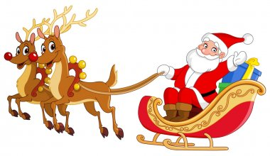 Santa riding his sleigh stock vector