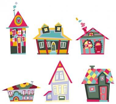 Decorative house set stock vector