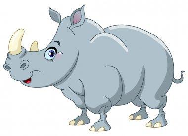 Vector cartoon of a cute rhino
