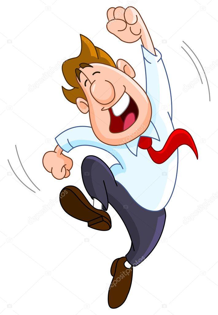Vector cartoon of a happy businessman