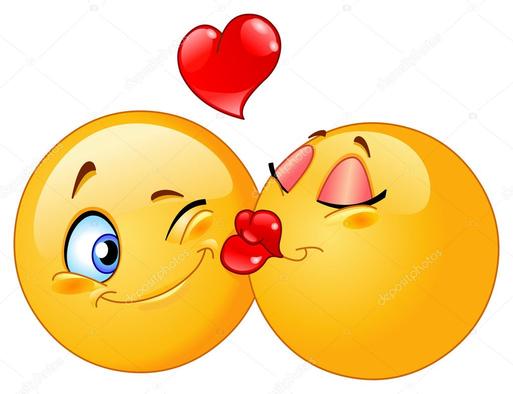 Vector design of a kissing emoticons