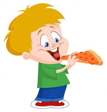 Kid eating pizza