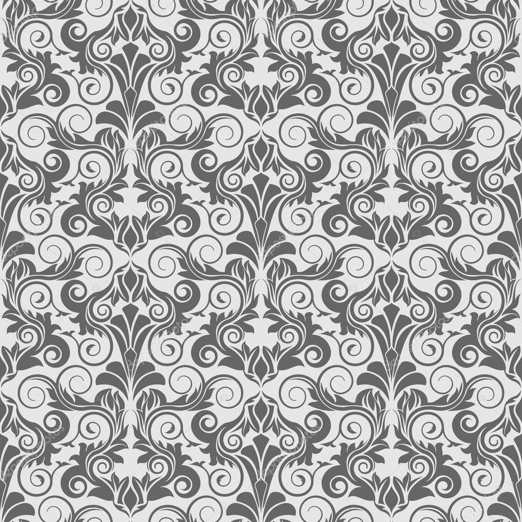 Grey seamless wallpaper pattern stock vector zybr78 for Grey patterned wallpaper