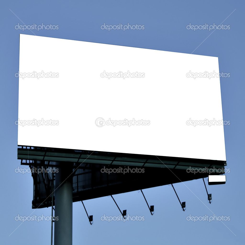 Blank big billboard over blue sky, put your text stock vector