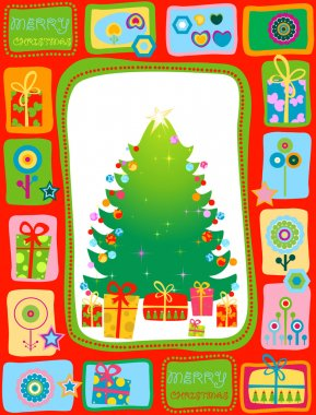Christmas tree with gifts stock vector