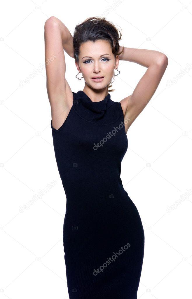 33cc081656cc28 Повний портрет красивою дорослий чуттєвість жінки у Чорне плаття позують  над білим тлом — Фото від valuavitaly