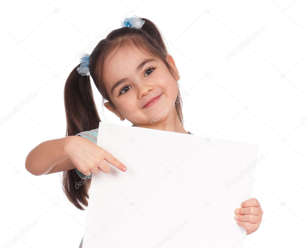 Girl with white board
