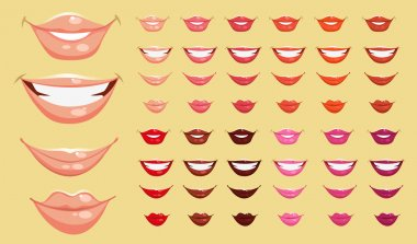 Set of color vector lips