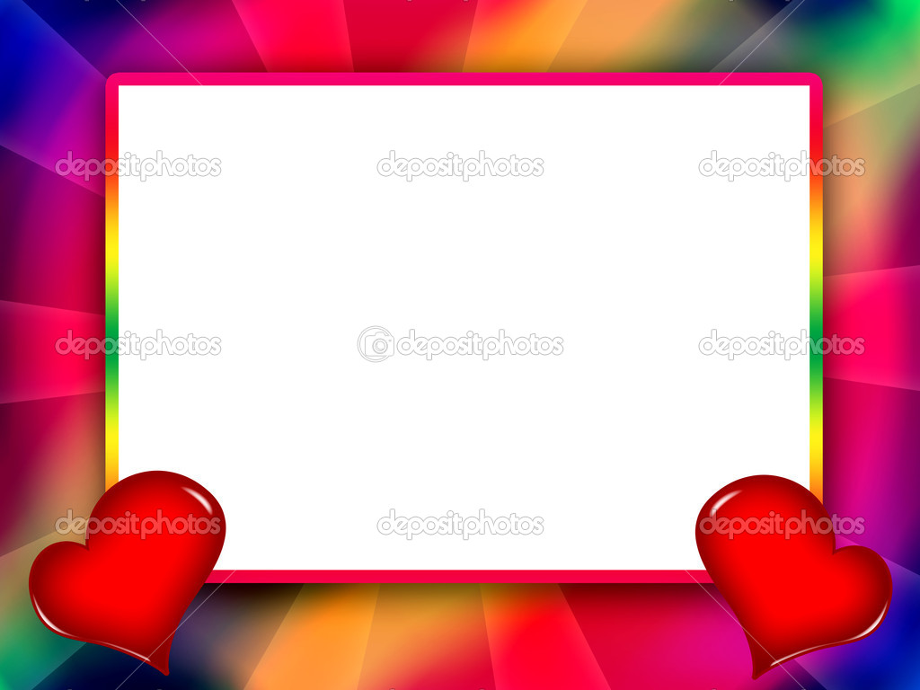 Colorful love frame with red hearts — Stock Photo