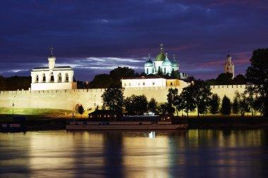 Beautiful night scenery, the city of Veliky Novgorod