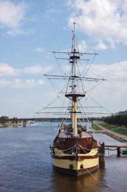 Frigate on the river, the city of Veliky Novgorod