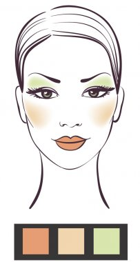 Beauty girl face with makeup illustration