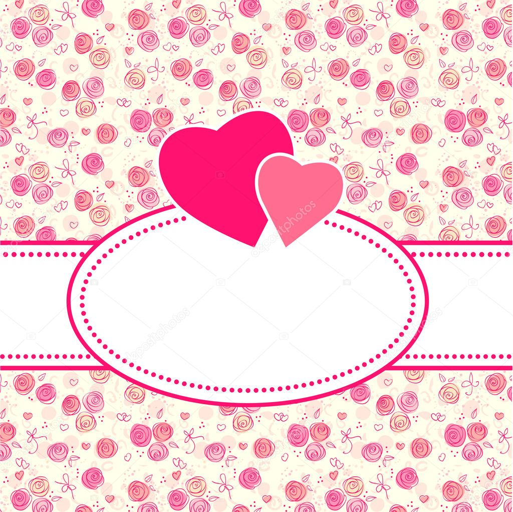 Vector greeting or Wedding card with flowers and hear