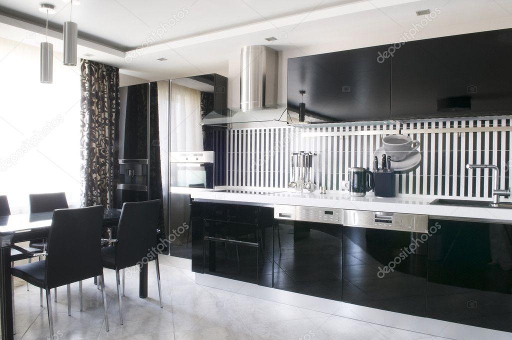 Modern interior — Stock Photo © margaryta #4601399 -> Kuchnia Bialo Czarna Aranżacje