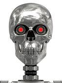 Kovové kyborg hlava s červenýma očima