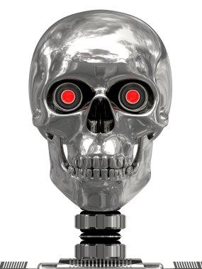 Metallic cyborg head with red eyes