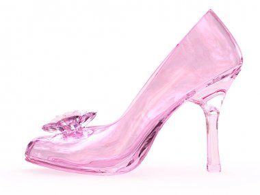 Pink crystal glass female shoe with flower