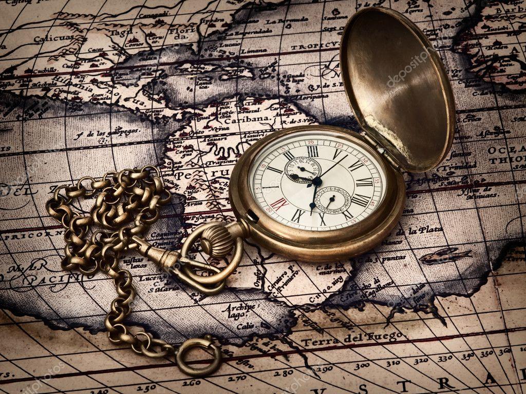 Antike taschenuhr wallpaper  Uhr antike Karte — Stockfoto #4413655