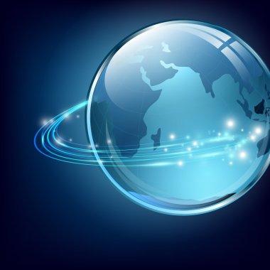 Earth with communication digital fibers