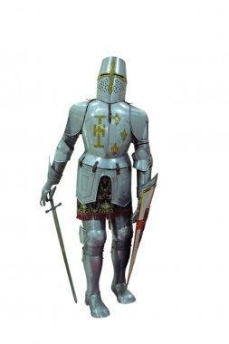 Armor medieval English knight in full growth with a sword and a shield on a white background stock vector