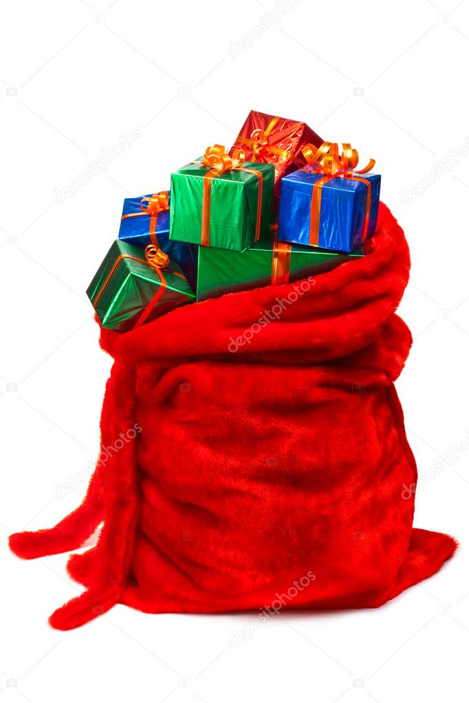 Santa S Bag Of Toys : Santa s sack filled with gifts — stock photo fotofermer