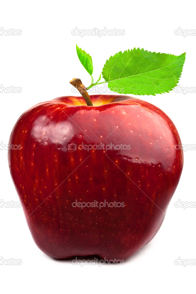 Dark-red apple with leaves