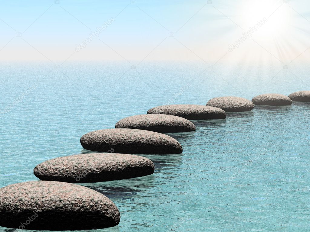 Float stones with sun beam