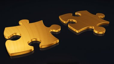 Puzzles from a gold. It is isolated on a black background stock vector