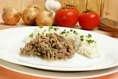 Minced meat with rice on a white plate