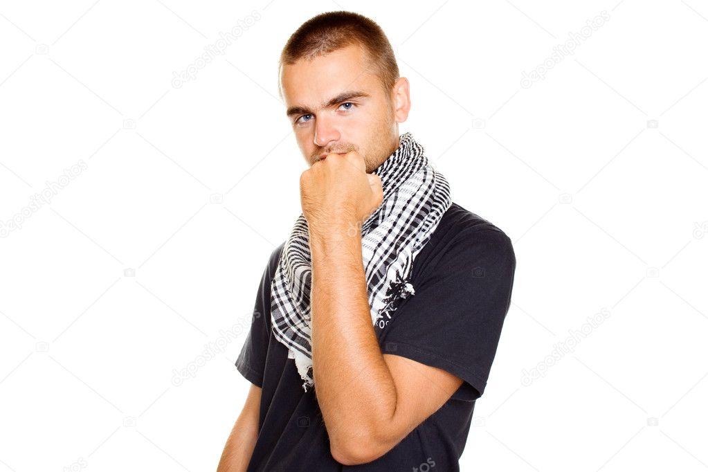 jeune homme dans un foulard palestinien — Photographie sunny baby ... 48feba72313