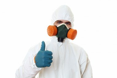 Man in protective suit Thumbs up