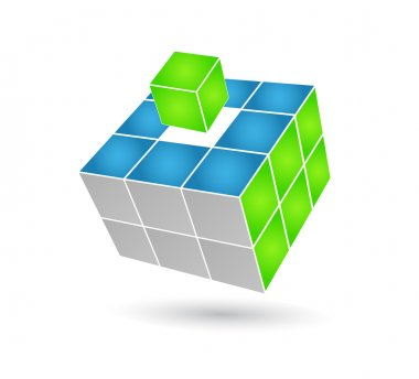 Cube puzzle in vector with 3d effect for business solutions stock vector