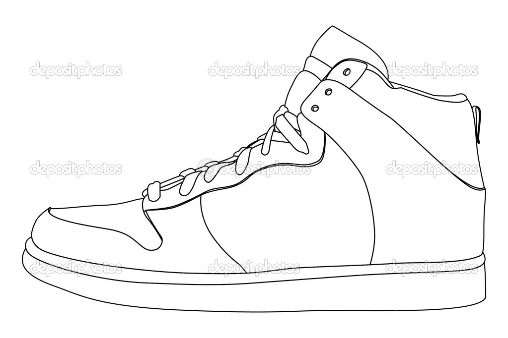 Blank High Top Shoe Outline