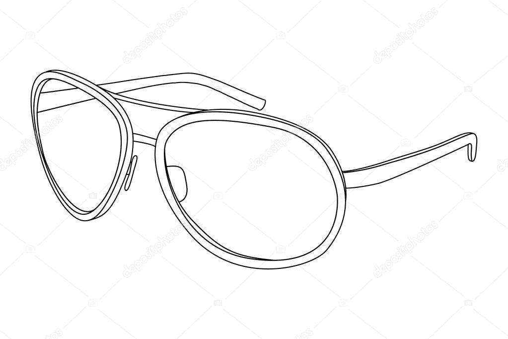 Line Drawing Glasses : Sunglasses — stock vector chisnikov