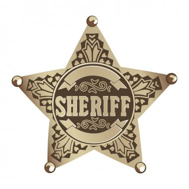 Brown vector Sheriff star on white background stock vector