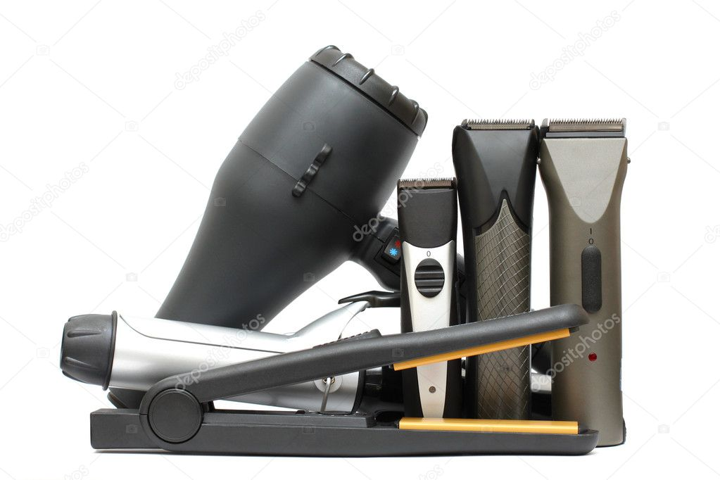 Beauty salon background - hairdressers tools isolated. Hair styl