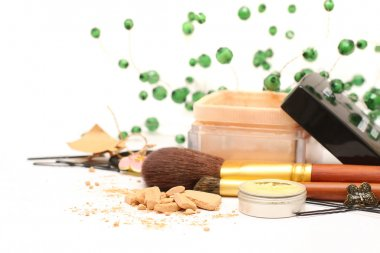 Female accessories - cosmetics, powder, brushes, barrettes, hair