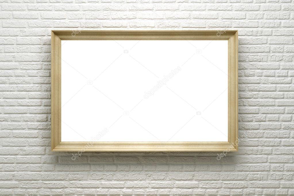 marco en blanco en la pared de ladrillo — Foto de stock © auriso ...